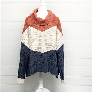 POL Colorblock Chenille Chunky Knit Sweater